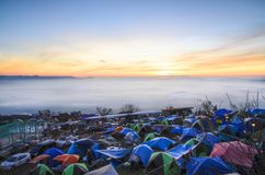 Yard Tents of sunrise Stock Photos