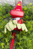 Yard Tools and safety equipment ready for yard work. Vertical photo of light green work gloves and safety glasses sitting on top of electrical power cutting Royalty Free Stock Image