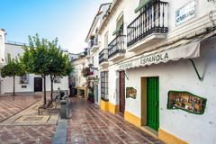 Yard with traditional Andalusian architecture at historical part of town Royalty Free Stock Photo