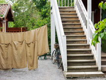The yard of traditional swedish house in Sweden Stock Photo