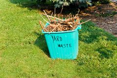 Yard Waste Container. A container full of brush and grass clean up from the yard Royalty Free Stock Photos