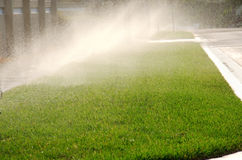 Yard water sprinkler system irrigation Royalty Free Stock Photo