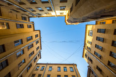 Yard-well kind of bottom-up, typical architecture of old St. Petersburg. Royalty Free Stock Photo