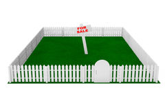 Yard with White Fence and For Sale Sign Royalty Free Stock Images
