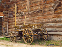 Yard of the wooden log house in Russian village in the middle Ru Royalty Free Stock Photography