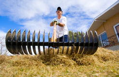 Yard work. A man doing some spring yard maintenance Stock Images