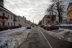 Yarda abandonada en invierno Imagen de archivo libre de regalías