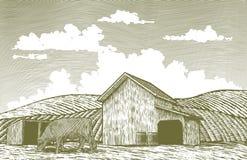 Yarda de granero del grabar en madera ilustración del vector
