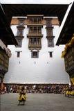 Yarda de la corte de dzong del paro. Imágenes de archivo libres de regalías