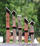 Yarda de madera americana Art Birdhouses Foto de archivo libre de regalías