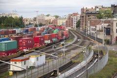 Yarda del tren en Columbia Británica Fotografía de archivo libre de regalías