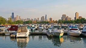 Yarda del yatch de Chicago y fuente del puerto Fotos de archivo libres de regalías