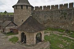 Yarda en el castillo de Khotyn Imagen de archivo libre de regalías