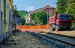 Yarda ferroviaria de la construcción Fotos de archivo libres de regalías
