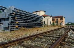 Yarda ferroviaria de la construcción Imágenes de archivo libres de regalías