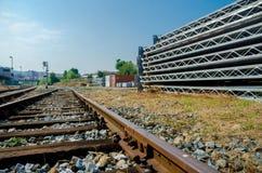 Yarda ferroviaria de la construcción Imagen de archivo libre de regalías