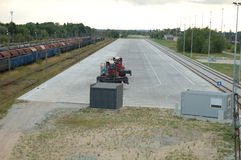 Yarda ferroviaria vacía del envase Foto de archivo