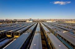 Yarda New York City del tren Fotografía de archivo libre de regalías