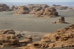 Yardang Landform in Dunhuang Stockfotos