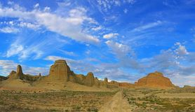 Urho Ghost City, Xinjiang China. Yardang landforms in Xinjiang,China. Located 100 km northeast of Karamay City, against the Halahlat Mountain, northwest of the Royalty Free Stock Photography