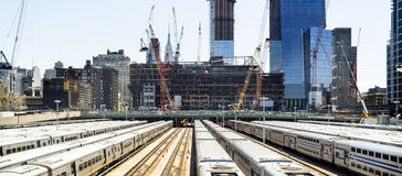 Yardas del tren del lado oeste en Manhattan Imagenes de archivo