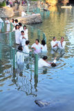 The ritual baptism of Christian pilgrims Royalty Free Stock Photography