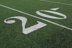 yardline för fältfotboll tjugo Arkivfoto