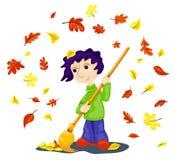 Yardman on white. The boy cleans autumn leaves. Cartoon vector illustration Stock Photo