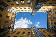 Yards courtyard or court structure shapes in St. Petersburg, Russia. Architecture. Stock Photo