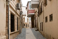 Yards, stegen, en straten van Oude Baku royalty-vrije stock foto's