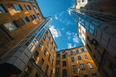 Yards structure shapes in Saint Petersburg, Russia. Royalty Free Stock Photos