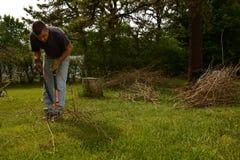 Yardwork bundling twigs Royalty Free Stock Photography