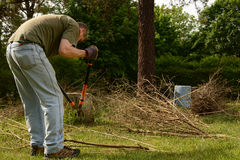 Yardwork bundling twigs stock photo