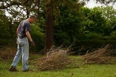 Yardwork bundling twigs Stock Photo