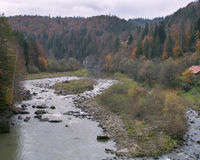 Yaremche autumn panorama. Carpathians, Ukraine. Stock Photography
