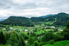 Yaremche, Ukraine - August 17, 2017: View to the outskirts from the mountain. Yaremche - city of the Ivano-Frankivsk Oblast. Part of the Yaremche municipalities Stock Image