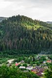 Yaremche, Ukraine - August 17, 2017: View from the mountain to the city royalty free stock images