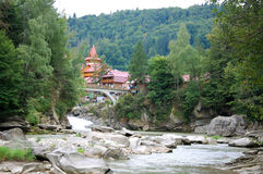 Yaremche. The view of Yaremche with river and Carpathians Royalty Free Stock Image