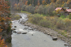 Yaremche village in autumn. Carpathians, Ukraine. Stock Photos