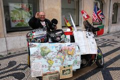 Yarets - first deaf person to make a round-the-world trip on a motorbike stock image