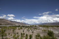 Yarlung Zangbo River(Brahmaputra). Riverside of the  the Yarlung Zangbo River(Brahmaputra) and cloudy sky Stock Images