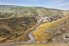 Yarmouk River valley on the border between Jordan and Israel. Royalty Free Stock Photos
