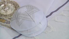 Yarmulke, a Jewish head covering Bar Mitzhvah jewish religious symbol. Israel jerusalem stock footage