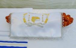Yarmulke, Żydowskiego kierowniczego nakrycia baru Mitzhvah symbolu żydowski religijny challah Zdjęcie Stock