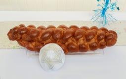 Yarmulke, Żydowskiego kierowniczego nakrycia baru Mitzhvah symbolu żydowski religijny challah Fotografia Royalty Free