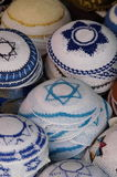 Yarmulkes with david's star. Jewish religious caps with a david star Stock Images