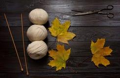 Yarn, вязать иглы, ножницы и листья желтого цвета на таблице Стоковая Фотография