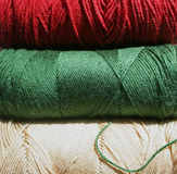 Yarn. Three skeins of yarn in fall colors Royalty Free Stock Photos