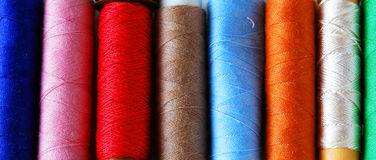Yarn. The closeup of some colored yarns royalty free stock photography