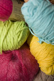Yarn. Different colors of yarn bundles. The focus is selective royalty free stock photography